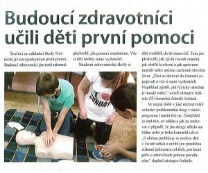 Budoucí zdravotníci učili děti první pomoci, Chomutovský deník, listopad 2014